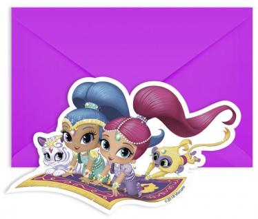 6 Einladungskarten Shimmer und Shine Glitzer Freunde