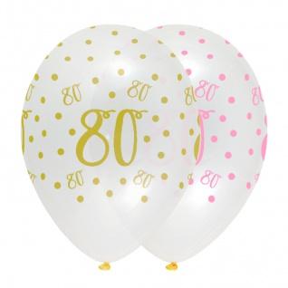 6 Luftballons zum 80. Geburtstag durchsichtig mit Rosa und Gold bedruckt