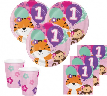 48 Teile Erster Geburtstag im Zoo Rosa Party Deko Set 16 Personen - Tiger