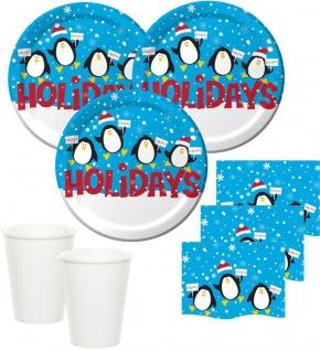 148 Teile Weihnachts oder Advents Set Pinguin und Weihnachtsmann für 48 Personen
