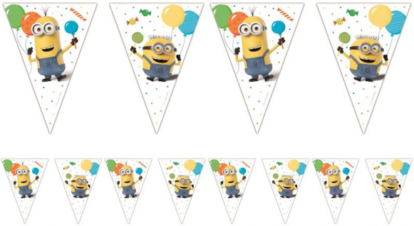 Wimpel Girlande Minions mit Ballons