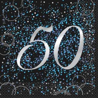 50. Geburtstag 16 Servietten in Schwarz Blau foliert