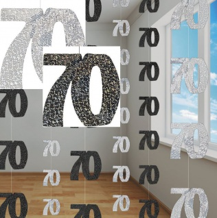 70. Geburtstag Glitzer Girlanden Schwarz + Silber