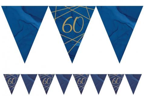 60. Geburtstag blauer Achat Wimpel Girlande aus Papier 3, 7m