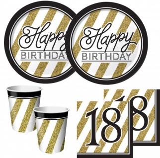 48 Teile zum 18. Geburtstag Black and Gold für 16 Personen