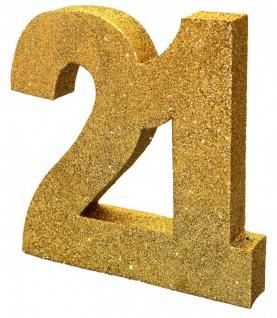 Deko Glitzer Zahl 21. Geburtstag Gold