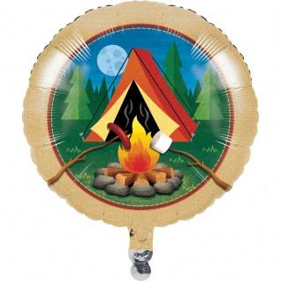 Folien Ballon Lagerfeuer, Zelten und Angeln