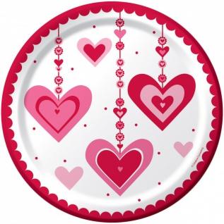 8 Papp Teller hängende Herzchen