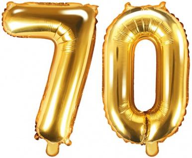 Folienballons Zahl 70 Gold Metallic 35 cm - Vorschau