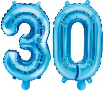 Folienballons Zahl 30 Blau Metallic 35 cm