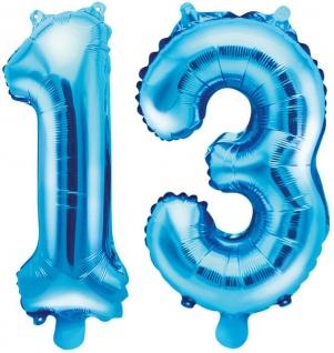 Folienballons Zahl 13 Blau Metallic 35 cm