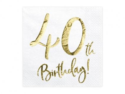 20 Servietten zum 40. Geburtstag in Weiß Gold foliert