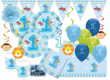 XXL Erster Geburtstag Junge Hellblau Party Deko Set 16 Personen