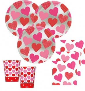 32 Teile Herzchen metallic Valentinstag Deko Set 8 Personen