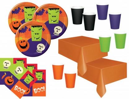 102 tlg XXL Halloween Fingerfood Partygeschirr Set für 32 Personen