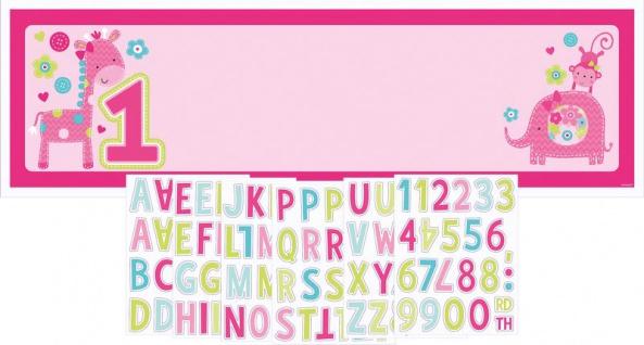 XXL Banner Erster Geburtstag Spaß Pink personalisierbar