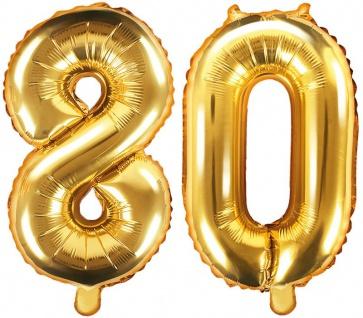 Folienballons Zahl 80 Gold Metallic 35 cm