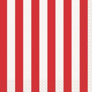 16 Servietten rote Streifen
