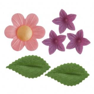 38 Teile Frühlings Wiese Set essbare Oblaten bunte Blumen und Blätter