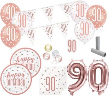XL 36 Teile 90. Geburtstag Urban Apricot Party Deko Set 8 Personen