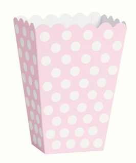 8 Popcorn oder Party Boxen Baby Rosa Punkte