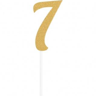 Glitzer Kuchen oder Deko Stecker Zahl 7 Gold