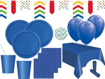 XL 59 Teile Party Deko Set Königs Blau für 8 Personen