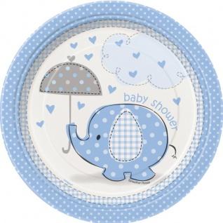 8 kleine Teller Baby Elefant blau