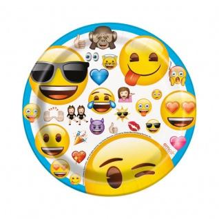 8 kleine Papp Teller Emoji Party