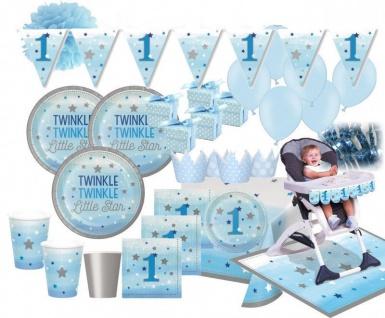 XXL 78 Teile Erster Geburtstag Blinke Kleiner Stern Blau Party Deko Set 8 - 16 Personen