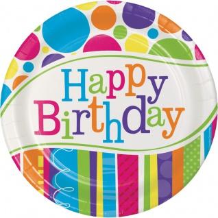 8 kleine Geburtstags Papp Teller bunte Punkte und Streifen
