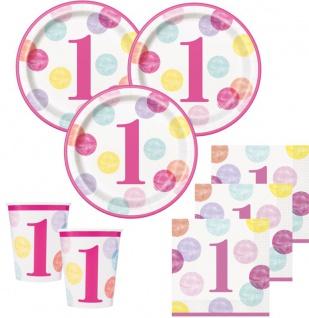 48 Teile Erster Geburtstag Rosa Punkte Party Deko Set 16 Personen