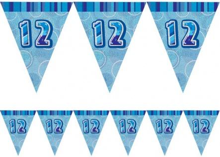12. Geburtstag Wimpel Girlande Blau