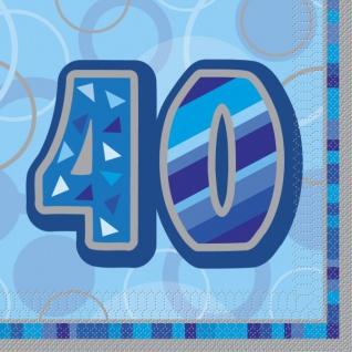 40. Geburtstag Servietten Blau