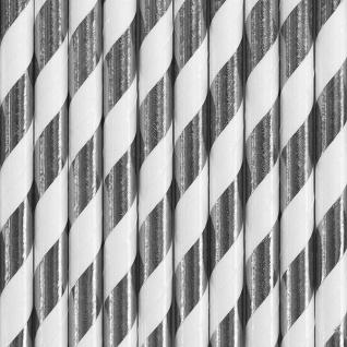 10 Papier Trinkhalme Silber Metallic und Weiß gestreift