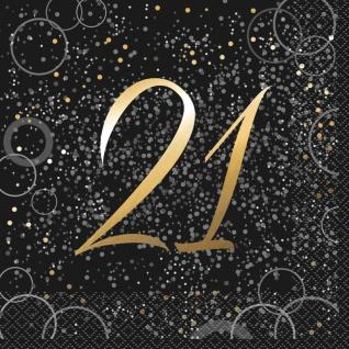 21. Geburtstag 16 Servietten in Schwarz Gold foliert