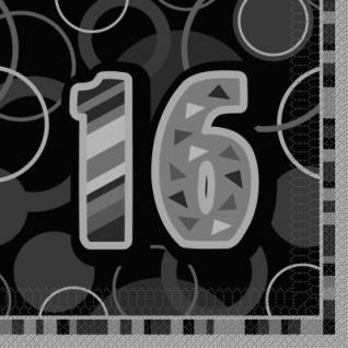 16. Geburtstag Party Servietten Schwarz