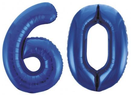 Folien Ballon Zahl 60 in Blau - XXL Riesenzahl 86 cm zum 60. Geburtstag in Blau - Jumbo