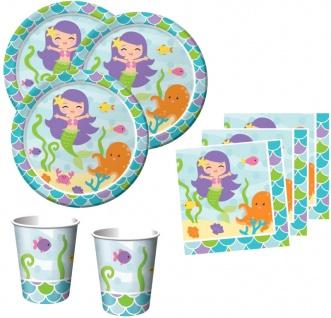 48 Teile Kleine Meerjungfrau Basis Party Deko Set für 16 Personen