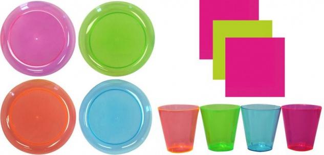 130 Teile Party Deko Set Neon buntes Plastik für 40 Personen - Schwarzlicht