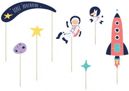 7 Torten oder Blumen Stecker Planeten Weltraum kleiner Astronaut
