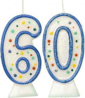 Glitzer Zahlenkerzen in Blau mit bunten Punkten 60