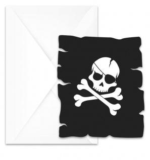 6 Einladungskarten Black Skull Piraten