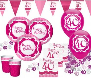 58 Teile zum 40. Geburtstag Party Set Perfectly Pink für 16 Personen