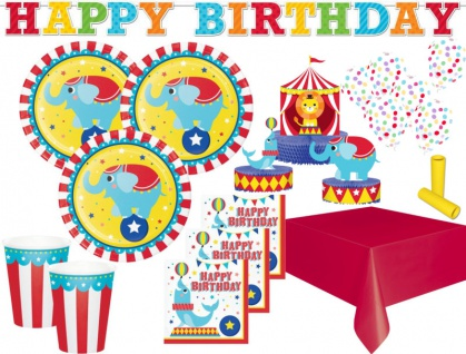 XL 44 Teile Zirkus Party Deko Set für 8 Kinder
