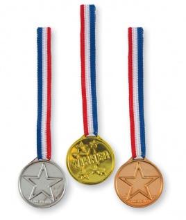3 Medaillen aus Plastik am Band Gold Silber und Bronce