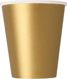 8 Papp Becher in Gold 266ml