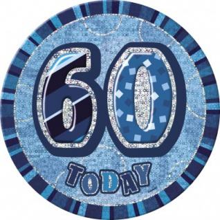 XXL Glitzer Button 60. Geburtstag Blau
