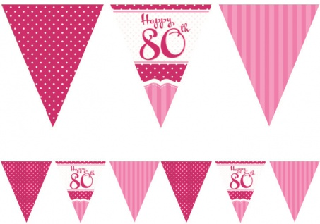 Papier Wimpel Girlande Perfectly Pink zum 80. Geburtstag