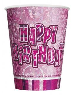 8 glitzernde Happy Birthday Party Becher Pink